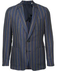 Gieves & Hawkes Blazer a rayas ajustado - Azul