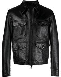AMI ジップアップ レザージャケット - ブラック