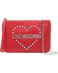 Love Moschino Клатч С Логотипом И Заклепками - Красный