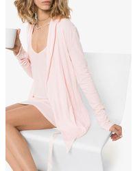 Skin Double Layer Tie-waist Robe - ピンク