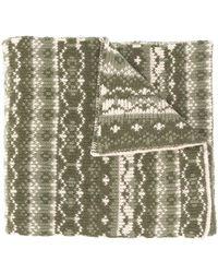 Paul & Shark インターシャ オーバーサイズ スカーフ - グリーン