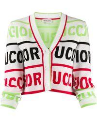 Fiorucci Cropped Logo Cardigan - White