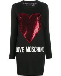 Love Moschino - Vestito modello felpa con paillettes - Lyst