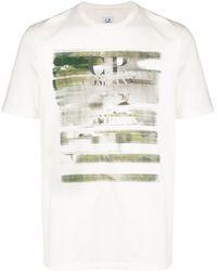C P Company T-Shirt mit Distressed-Logo - Weiß
