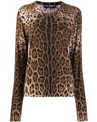 Dolce & Gabbana - Трикотажный Джемпер С Леопардовым Принтом - Lyst