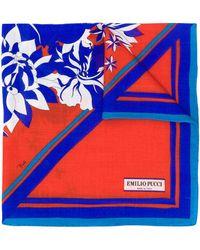 Emilio Pucci Floral Print Scarf - Blue