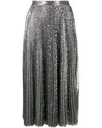 MSGM Pleated Sequinned Tulle Midi Skirt - Metallic