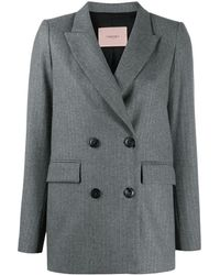 Twin Set Pinstripe Double-breasted Blazer - Grey