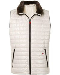 Kiton Zip Up Quilted Gilet - White