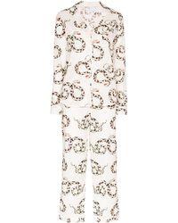 Desmond & Dempsey Pyjama Met Slangenprint - Wit