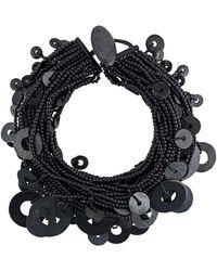 Monies Circle Pendant Necklace - Black