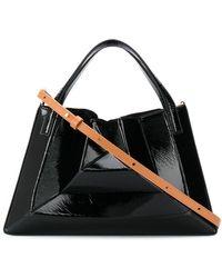Mlouye Geometric Leather Tote Bag - Black