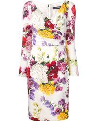 Dolce & Gabbana Floral Print Long-sleeve Dress - White