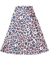 CALVIN KLEIN 205W39NYC レオパード スカート - ブルー