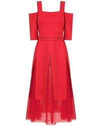 Gloria Coelho Off Shoulder Tulle Dress - Red