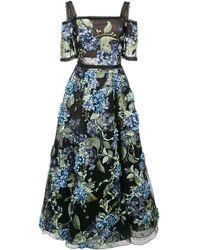 Marchesa notte Floral Applique Dress - Black