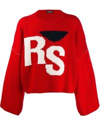 Raf Simons Red Virgin Wool Cropped Oversized Rs Sweater