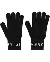 Givenchy ロゴインターシャ グローブ - ブラック