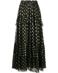 Etro Ярусное Платье Макси В Горох - Черный