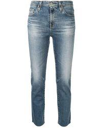 AG Jeans Укороченные Джинсы Скинни - Синий