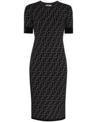Fendi Ff Motif Fitted Midi Dress - Grey