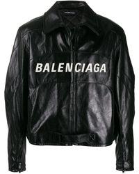 Balenciaga Embroidered Logo Biker Jacket - Black