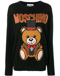Moschino - Logo Bear Intarsia Knitted Virgin Wool Jumper - Lyst
