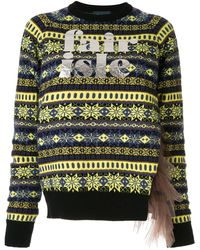 Kolor Logo Print Knit Sweater - Blue