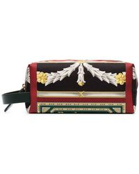 Burberry - Multicoloured Archive Scarf Print Cotton And Leather Pouch - Lyst
