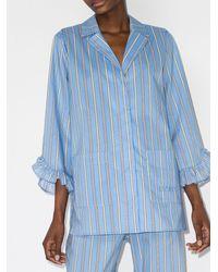 Ganni ストライプ パジャマシャツ - ブルー