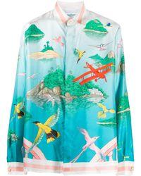 CASABLANCA Hummingbird-print Silk Shirt - Blue