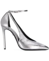 Grey Mer Cut Out Stiletto Pumps - Metallic