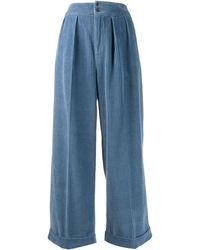 Bellerose Pantalones palazzo de pana - Azul