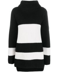 JOSEPH Stripe Ribbed Knit Sweater - Black