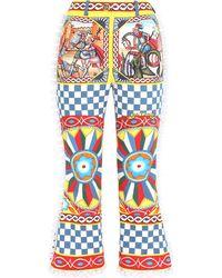 Dolce & Gabbana グラフィック クロップドパンツ - ホワイト