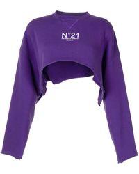 N°21 Укороченная Толстовка С Логотипом - Пурпурный
