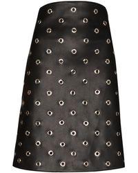 we11done Eyelet-embellished Faux Leather Mini Skirt - Black