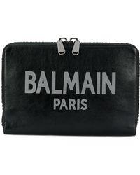 Balmain Pochette zippée à logo - Noir
