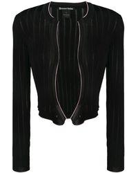 Pinko Cropped Ribbed Knit Cardigan - Black