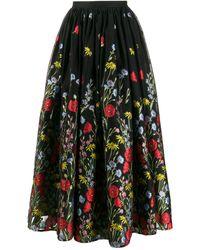 Erdem Lindie フローラルスカート - ブラック