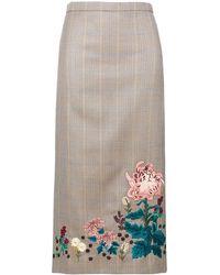 Erdem Embroidered Check Skirt - マルチカラー