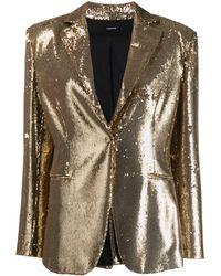 P.A.R.O.S.H. Gold Sequin Blazer - Metallic