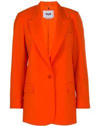 MSGM ピークドラペル シングルジャケット - オレンジ