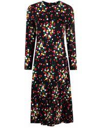 Saint Laurent Polka Dot-print Silk Dress - Black
