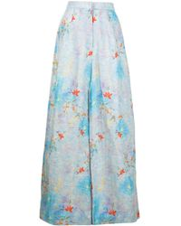 Bambah Floral-print Palazzo Trousers - Blue