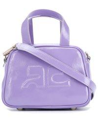 Courreges Logo Embossed Leather Mini Bag - Purple