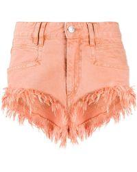 Isabel Marant Fringed Denim Shorts - Orange