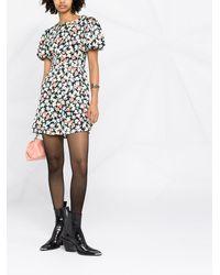 Saint Laurent Платье С Объемными Рукавами И Цветочным Принтом - Черный