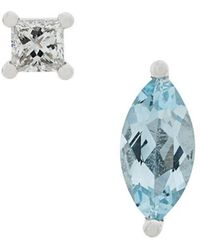 Delfina Delettrez - 18kt White Gold Dots Solitaire Aquamarine And Diamond Earrings - Lyst