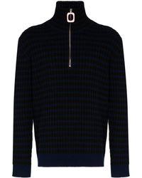 JW Anderson Ribbed Half-zip Wool Jumper - Black
